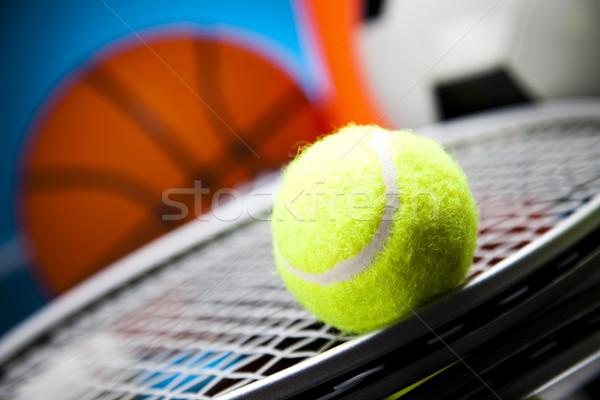 Grupo artículos deportivos fútbol deporte tenis béisbol Foto stock © JanPietruszka