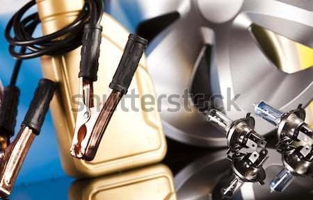 Stock photo: Set of parts car on vivid moto concept