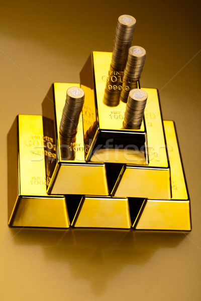 Finance Concept, coins and gold Stock photo © JanPietruszka