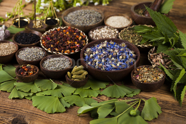 Stock photo: Natural remedy,Herbal medicine and wooden table background