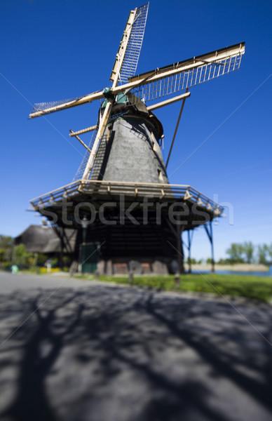Traditioneel oude Nederland nederlands windmolen hemel Stockfoto © JanPietruszka