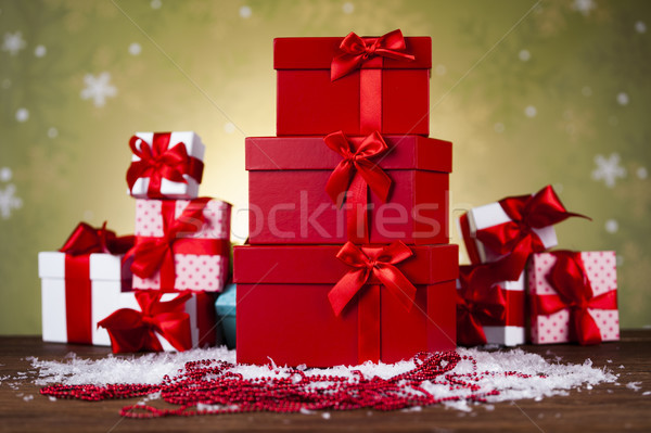 Christmastime celebration, Gift box with red ribbon bow Stock photo © JanPietruszka