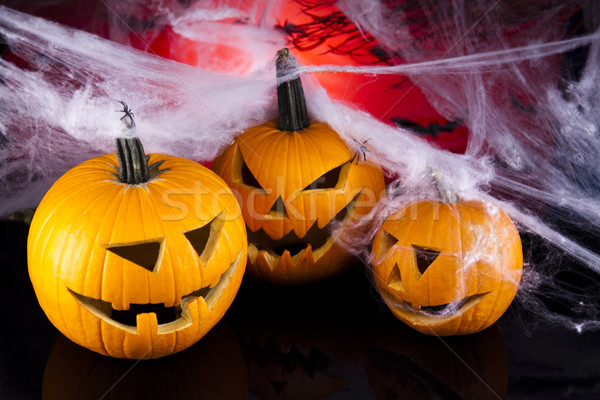Halloween teia olhos fundo laranja espaço Foto stock © JanPietruszka