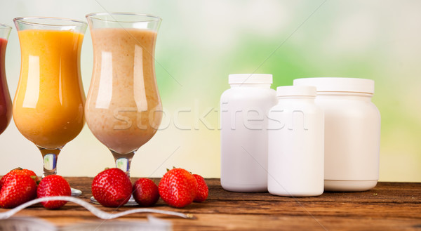 Stock photo: Sport Milk shakes, healthy and fresh