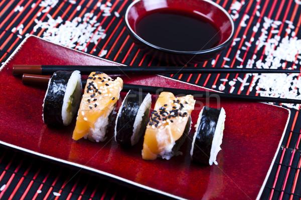 Tradicional comida japonesa sushi peixe tabela bambu Foto stock © JanPietruszka