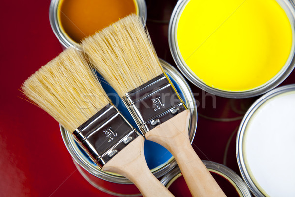 Paint cans, bright colorful tone concept Stock photo © JanPietruszka