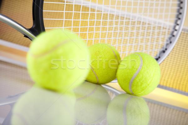 Tennis racket and balls Stock photo © JanPietruszka