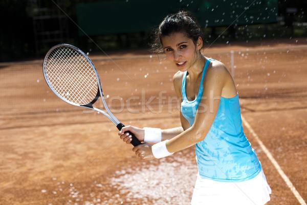 Foto stock: Menina · jogar · tênis · mulher · vida · jovem