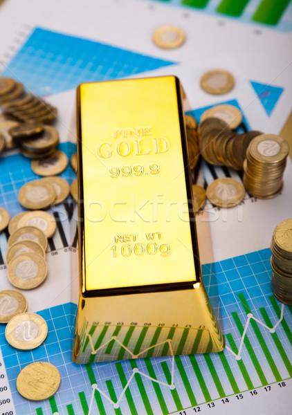 Ouro barras linear gráfico financeiro dinheiro Foto stock © JanPietruszka