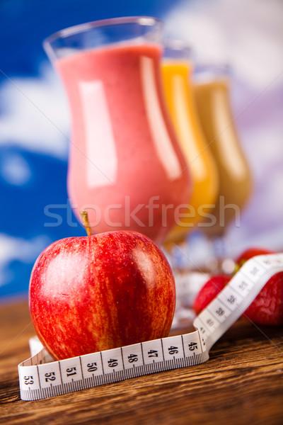 Milk shakes, sport and fitness Stock photo © JanPietruszka