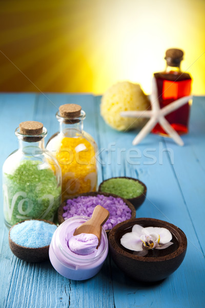 Természetes fürdősó organikus termékek fürdő fürdőszoba Stock fotó © JanPietruszka