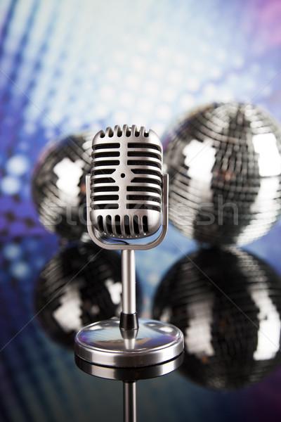 Retró stílus mikrofon zene klasszikus háttér hírek Stock fotó © JanPietruszka
