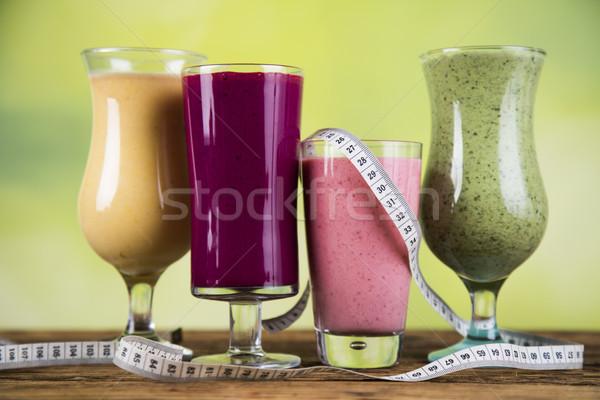 Sport diet,Cocktails , fitness, wooden background  Stock photo © JanPietruszka