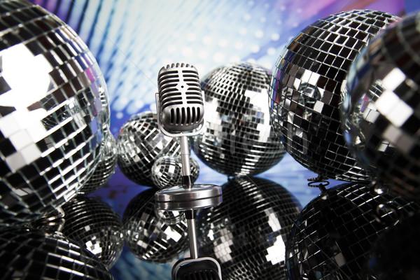 Retró stílus mikrofon zene diszkó golyók háttér Stock fotó © JanPietruszka