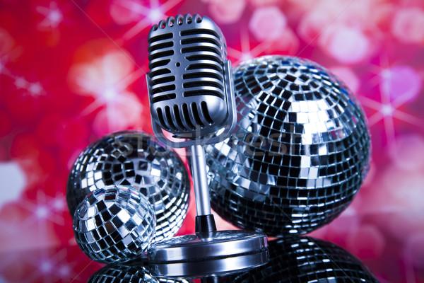 Stile retrò microfono suono onde discoteca Foto d'archivio © JanPietruszka