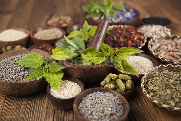 Natuurlijke remedie houten tafel boom natuur schoonheid Stockfoto © JanPietruszka