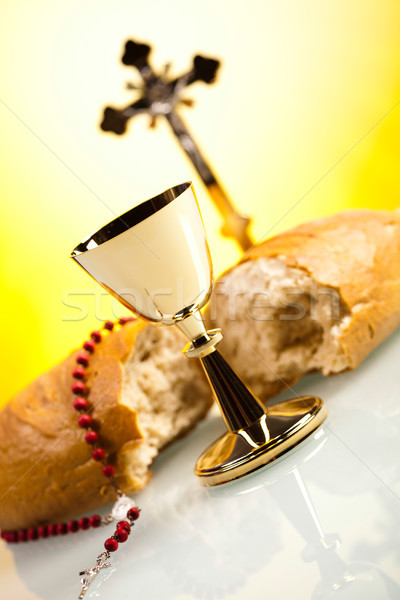 Stock photo: Christian holy communion, bright background, saturated concept