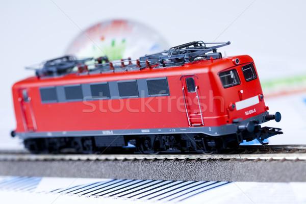Lokomotywa jasne kolorowy zabawki model pociągu Zdjęcia stock © JanPietruszka