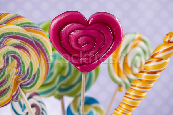 Colorful candies in jars on table on gum balls Stock photo © JanPietruszka
