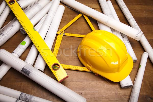 Ház tervrajzok közelkép építészet művészet tudomány Stock fotó © JanPietruszka