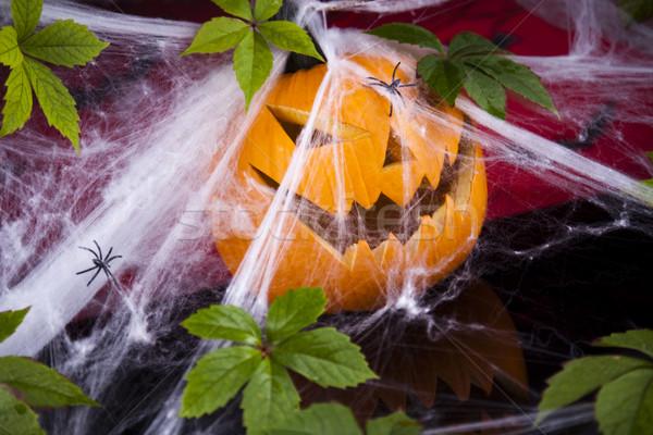 Halloween háló szemek háttér narancs űr Stock fotó © JanPietruszka