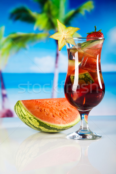 Stock photo: Alcoholic cocktails with fruits, natural colorful tone