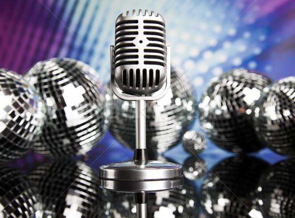 Klasszikus mikrofon zene retro háttér hírek Stock fotó © JanPietruszka