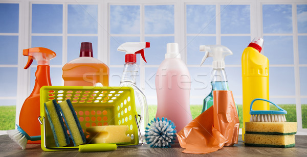 House cleaning product on wood table and window background Stock photo © JanPietruszka
