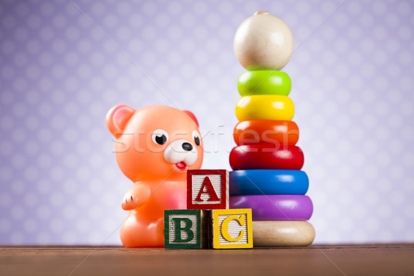Pile of toys, collection on wooden background Stock photo © JanPietruszka