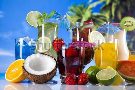 Alkohol italok szett gyümölcsök friss ital Stock fotó © JanPietruszka