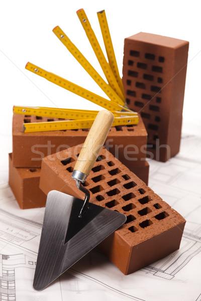 Trowel and bricks Stock photo © JanPietruszka