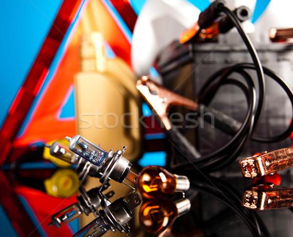 Auto batterij twee kabels levendig moto Stockfoto © JanPietruszka