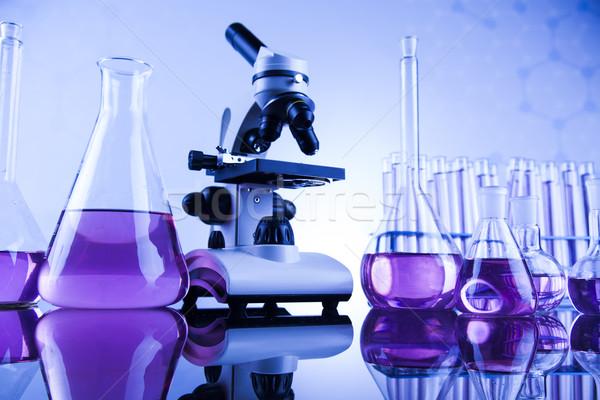 Microscope in medical laboratory glassware Stock photo © JanPietruszka