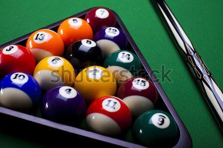 Biliárd golyók zöld asztal sport háttér Stock fotó © JanPietruszka