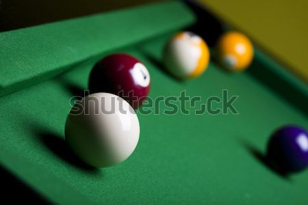 Billiard balls, cue on blue table Stock photo © JanPietruszka