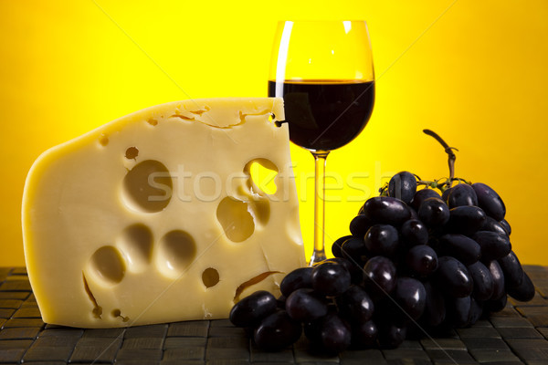 Still-life with cheese and wine Stock photo © JanPietruszka