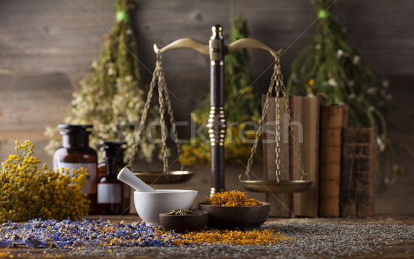 Médecine alternative naturelles table en bois nature Photo stock © JanPietruszka