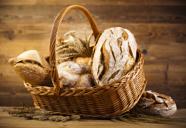 Stock photo: Traditional bread in wicker basket