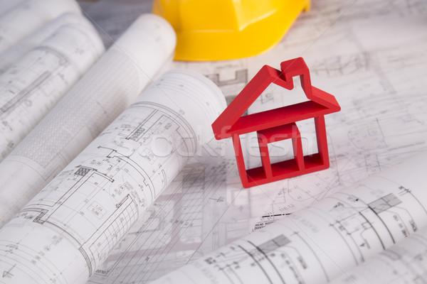 House model, architecture blueprints concept Stock photo © JanPietruszka