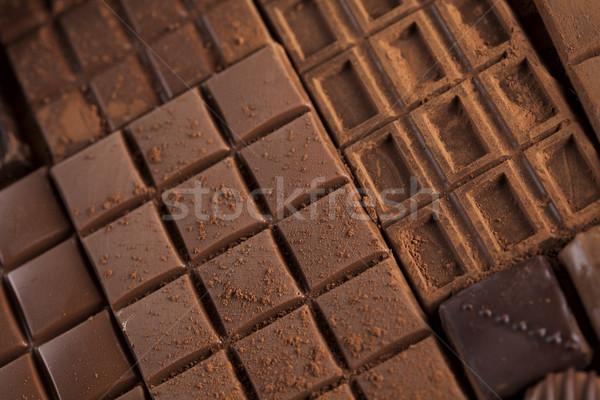 Chocolate sweet, cocoa pod and food dessert background Stock photo © JanPietruszka