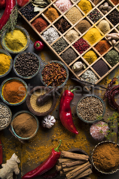 Close-up of different types of Assorted Spices in a wooden box Stock photo © JanPietruszka