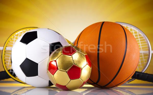 ストックフォト: スポーツ用品 · 日照 · サッカー · スポーツ · オレンジ · 野球