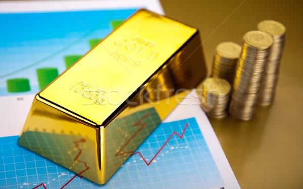 Złota bary liniowy wykres finansowych ceny Zdjęcia stock © JanPietruszka