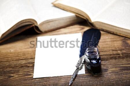 Old paper, pen, natural colorful tone Stock photo © JanPietruszka