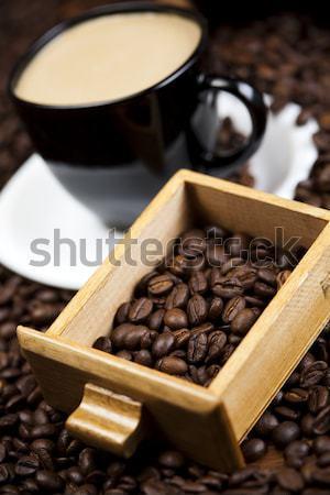 Fincan fasulye kahve beyaz doku gıda Stok fotoğraf © JanPietruszka