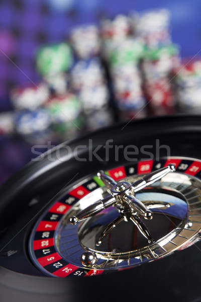 Póker zsetonok számítógépes játékok kaszinó rulett jókedv fekete Stock fotó © JanPietruszka