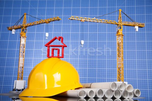 Guindaste blueprints edifícios construção negócio Foto stock © JanPietruszka