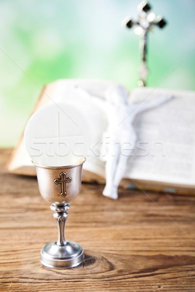 Elsőáldozás fényes Jézus kenyér Biblia kukorica Stock fotó © JanPietruszka