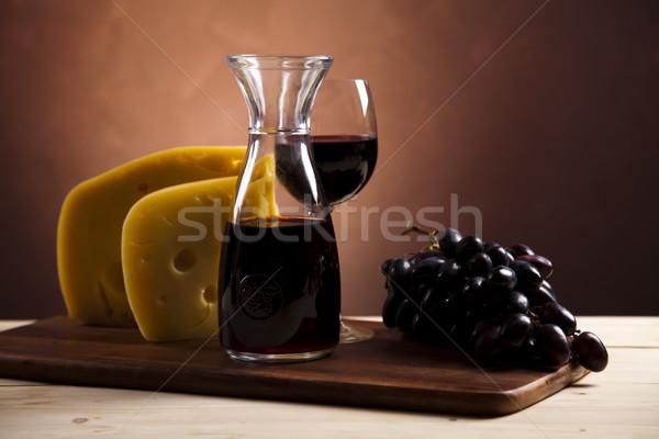 Still-life with cheese and wine Stock photo © JanPietruszka