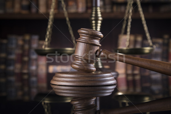 Law theme, mallet of judge, wooden gavel, mirror reflection back Stock photo © JanPietruszka